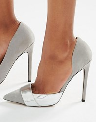Paper Dolls Mix Material Court Shoes Grey