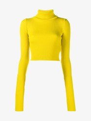 Jacquemus Wool Cropped Ribbed Turtle Neck Sweater Yellow
