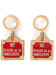Karl Lagerfeld Vintage Street Sign Earrings Red