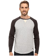 True Grit Vintage Raglan Long Sleeve Tee With Stitch And Trim Detail Vintage Black Heather Grey Men's T Shirt Gray