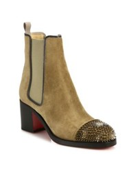 Christian Louboutin Otaboot Spiked Suede Chelsea Booties Camel