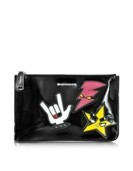 Dsquared Icon Beauty Large Black Patent Leather Flat Clutch