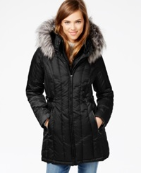 Nautica Faux Fur Trim Hooded Puffer Coat Black