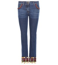 Etro Embellished Straight Jeans Blue