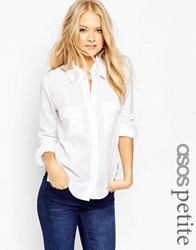 Asos Petite Fitted Shirt In Twill White