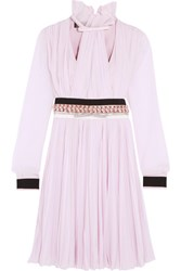Giambattista Valli Embellished Pleated Silk Chiffon Dress Pink