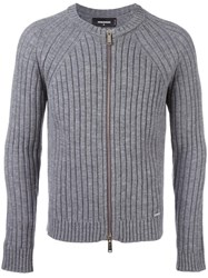 Dsquared2 Ribbed Zip Up Cardigan Grey