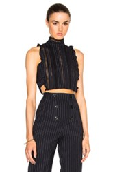 Marissa Webb Yvette Dickie Top In Blue Stripes Blue Stripes