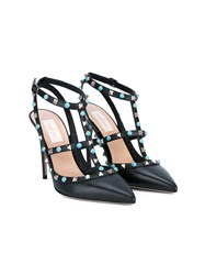 Valentino Rockstud Ankle Strap Sandals Black Silver Turquoise Stone