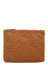 Cole Haan Woven Medium Leather Pouch Brown