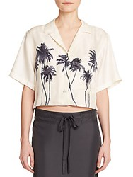 Rag And Bone Silk Palm Tree Print Cropped Top Vanilla