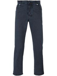 Kiton Slim Fit Trousers Blue