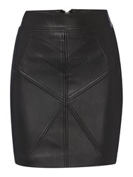 Label Lab Stitch Detail Pu Skirt Black