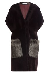 Ines And Marechal Shearling Coat With Raccoon Fur Red