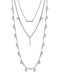 Lucky Brand Layered Bird Necklace Silver
