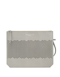Kenneth Cole Caton Street Perforated Leather Clutch Light Grey