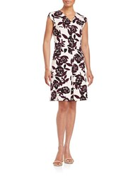 Lord And Taylor Ponte Print Fit Flare Dress Eggplant