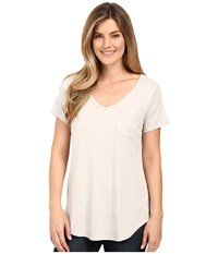 Lilla P Fine Rib Short Sleeve Pocket Tee Fossil Women's T Shirt Beige