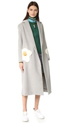 Anya Hindmarch Oversized Egg Coat Light Grey