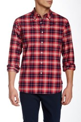 Grayers Compact Chambray Weave Plaid Long Sleeve Regular Fit Shirt Red