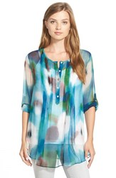 Women's Casual Studio Pleat Front Peasant Blouse Turquoise Blurred Floral Print