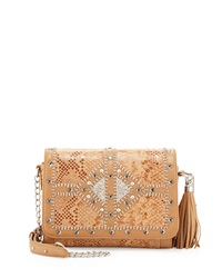 Mary Frances Rise And Shine Beaded Snake Embossed Leather Crossbody Bag Tan