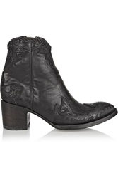 Mexicana Venice Appliqued Leather Ankle Boots Black