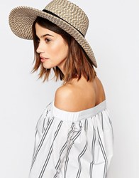 Warehouse Textured Floppy Straw Hat Cream