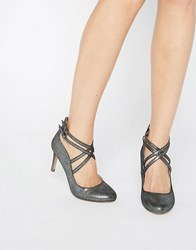 Head Over Heels By Dune Alisha Cross Strap Pewter Heeled Shoes Pewter Silver