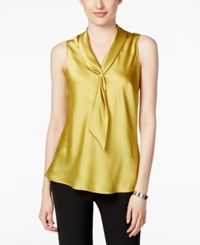 Tahari By Arthur S. Levine Asl Sleeveless Charmeuse Tie Neck Blouse Lime Green