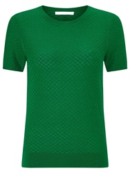 Boss Black Boss Textured Short Sleeve Knit Top Open Green