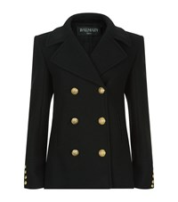 Balmain Double Breasted Cashmere Wool Peacoat Female Black