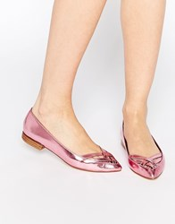 Park Lane Cut Out Point Flat Shoes Pink