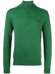 Polo Ralph Lauren Ribbed Zip Collar Jumper Green