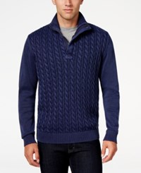 Weatherproof Vintage Men's Big And Tall Cable Knit Sweater Deep Blue