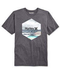 Hurley Men's Split Graphic T Shirt Heather Black