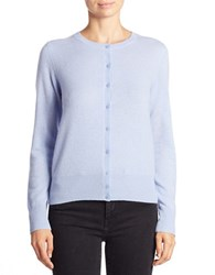 Lord And Taylor Petite Basic Crewneck Cashmere Cardigan Blue Orbit