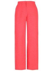 Chesca Linen Pinstripe Trousers Coral