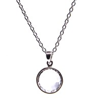 Puck Wanderlust Silver April Birthday Charm Necklace Clear Quartz White Silver