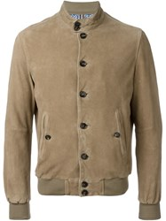 Jacob Cohen Suede Bomber Jacket Nude And Neutrals