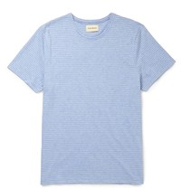 Oliver Spencer Harper Slim Fit Striped Cotton Jersey T Shirt Blue