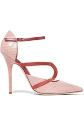 Malone Souliers Veronica Suede Trimmed Elaphe Pumps Pink