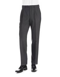 Lauren Ralph Lauren Mid Weight Pleated Wool Trouser Pants Charcoal