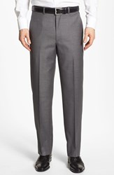 Men's Santorelli Flat Front Wool Trousers Medium Grey