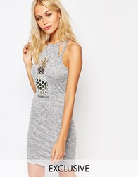 Kiss And Tell Body Conscious Dress With Cut Outs And Pineapple Print Gray