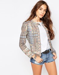 Only Mixed Print Statement Jacket Bone White