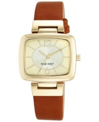 Nine West Women's Honey Brown Leather Strap Watch 37X36mm Nw 1840Chhy