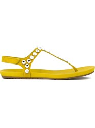 Pedro Garcia 'Judith' T Bar Studded Sandals Yellow And Orange