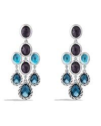 Color Classic Chandelier Earrings With Hampton Blue Topaz Black Orchid And Gray Sapphires David Yurman Silver
