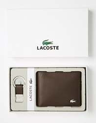 Lacoste Leather Billfold Wallet And Keyring Gift Set Brown